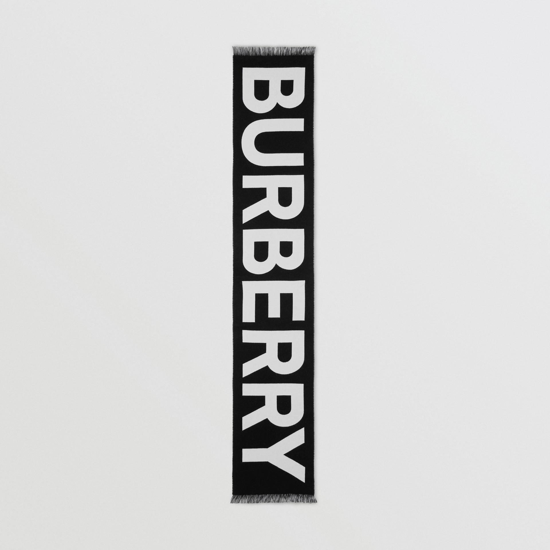 徽標羊毛提花圍巾 (黑色) | Burberry - 圖庫照片 5