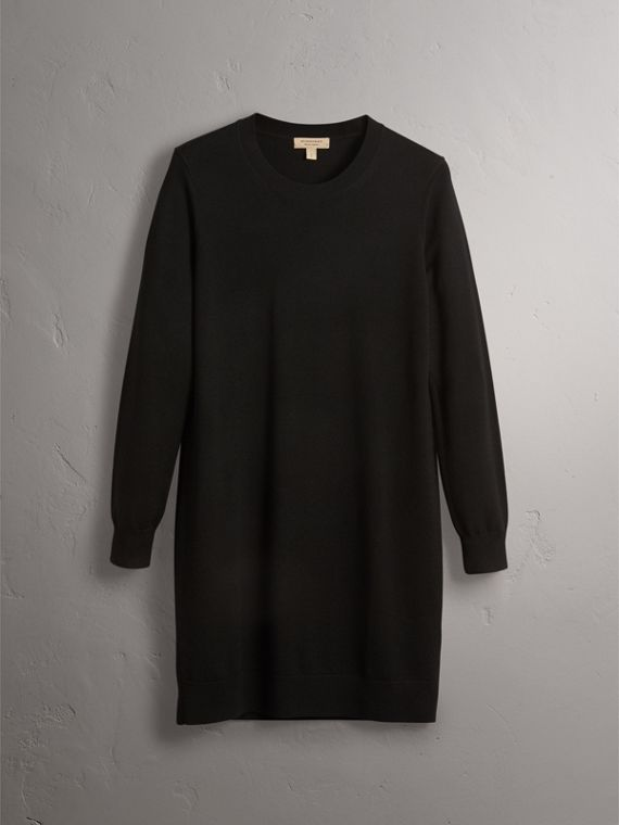 Check Elbow Detail Merino Wool Sweater Dress in Black - Women | Burberry Hong Kong - cell image 3