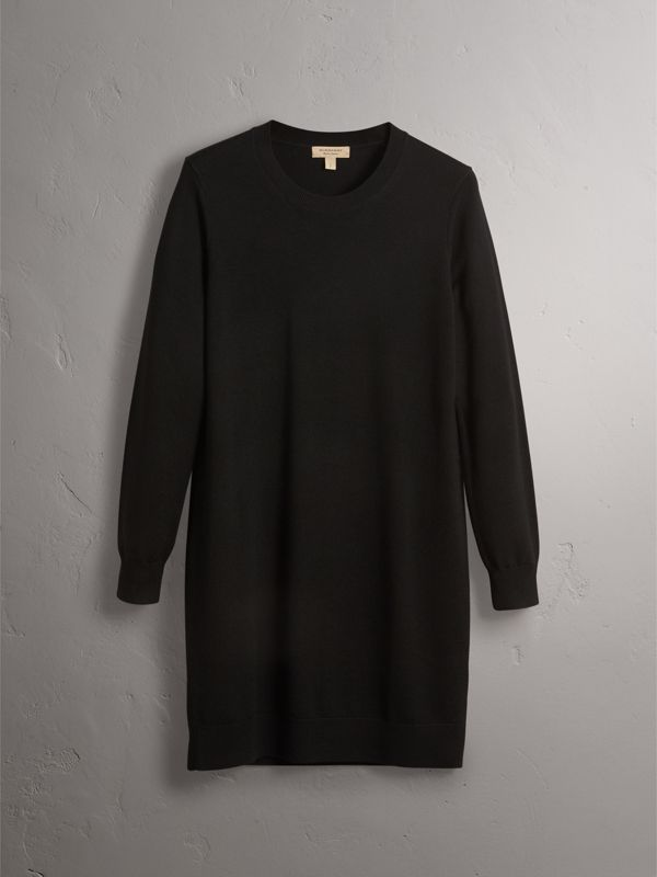 Check Elbow Detail Merino Wool Sweater Dress in Black - Women | Burberry - cell image 3