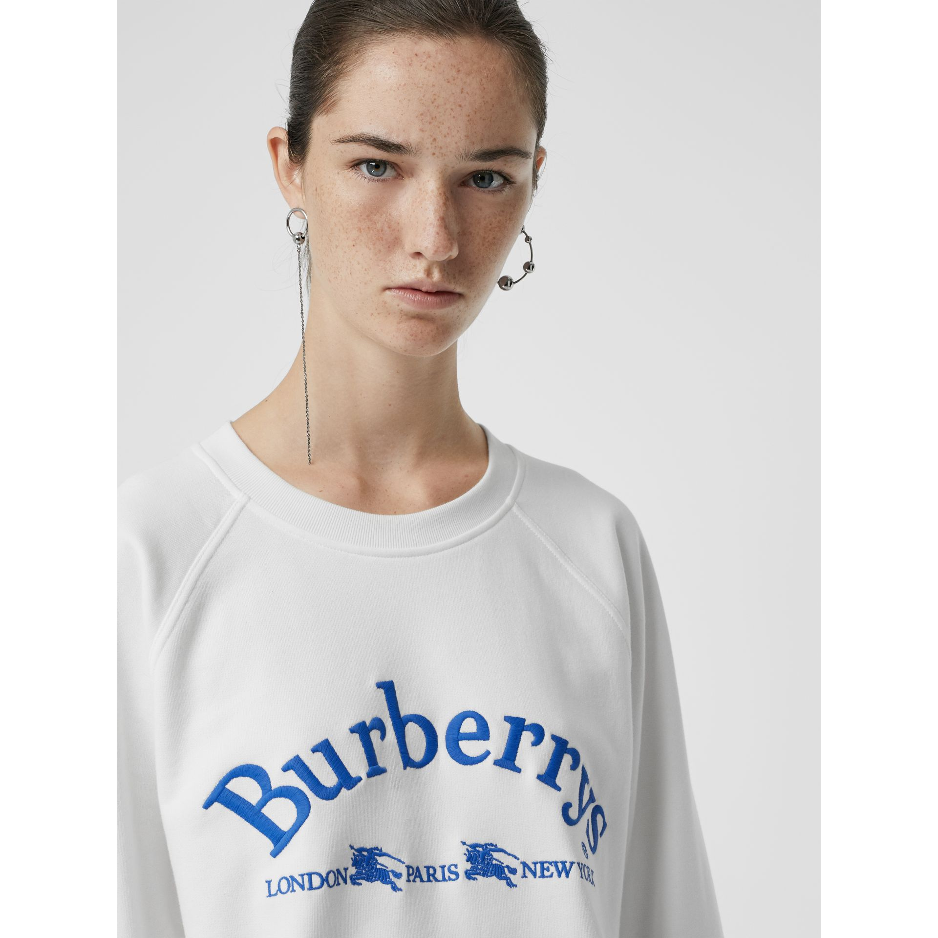 Embroidered Archive Logo Jersey Sweatshirt in White - Women | Burberry United States - gallery image 1
