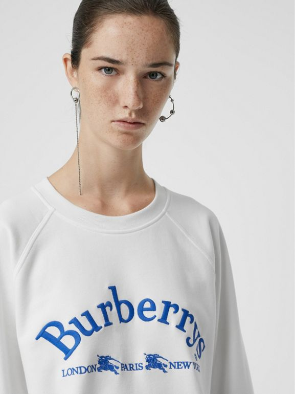 Embroidered Archive Logo Jersey Sweatshirt in White - Women | Burberry United States - cell image 1