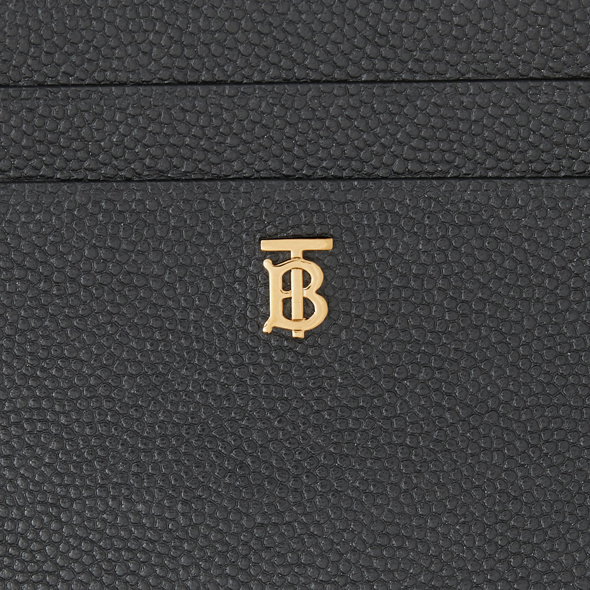 Monogram Motif Grainy Leather Zip Card Case in Black - Women | Burberry - gallery image 1