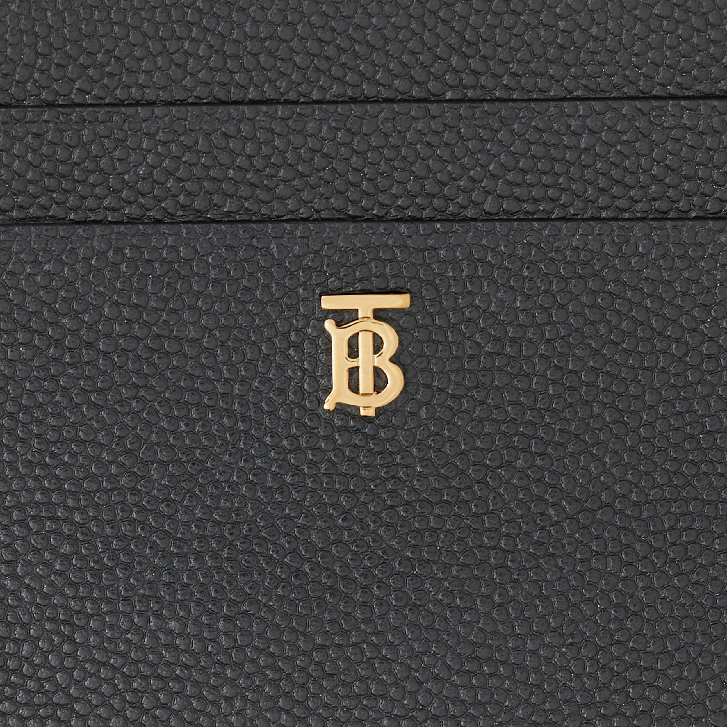 Monogram Motif Grainy Leather Zip Card Case in Black - Women | Burberry - 2