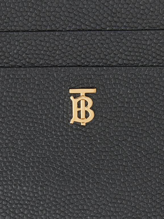 Monogram Motif Grainy Leather Zip Card Case in Black - Women | Burberry - cell image 1