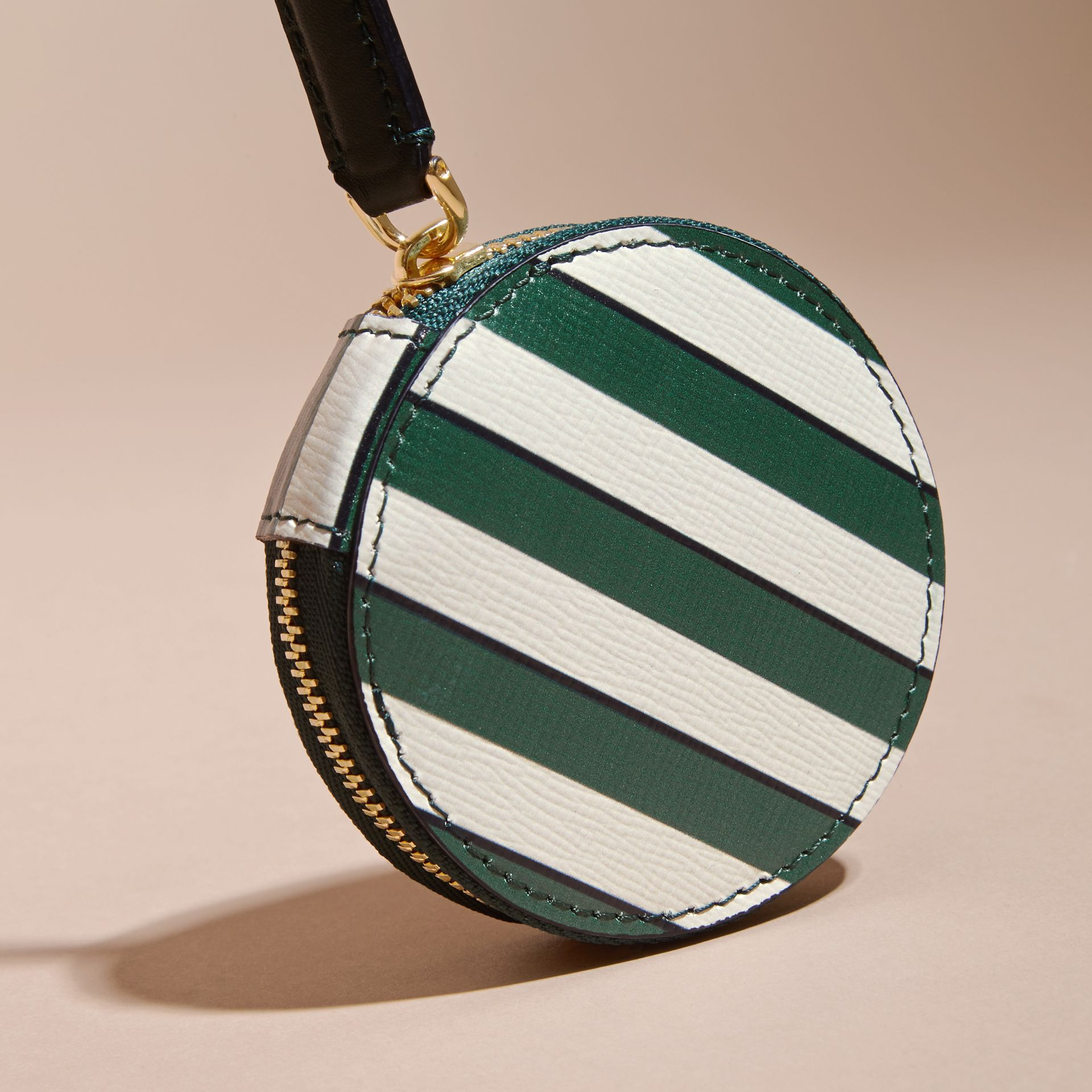 Pyjama Stripe London Leather Coin Case - gallery image 3