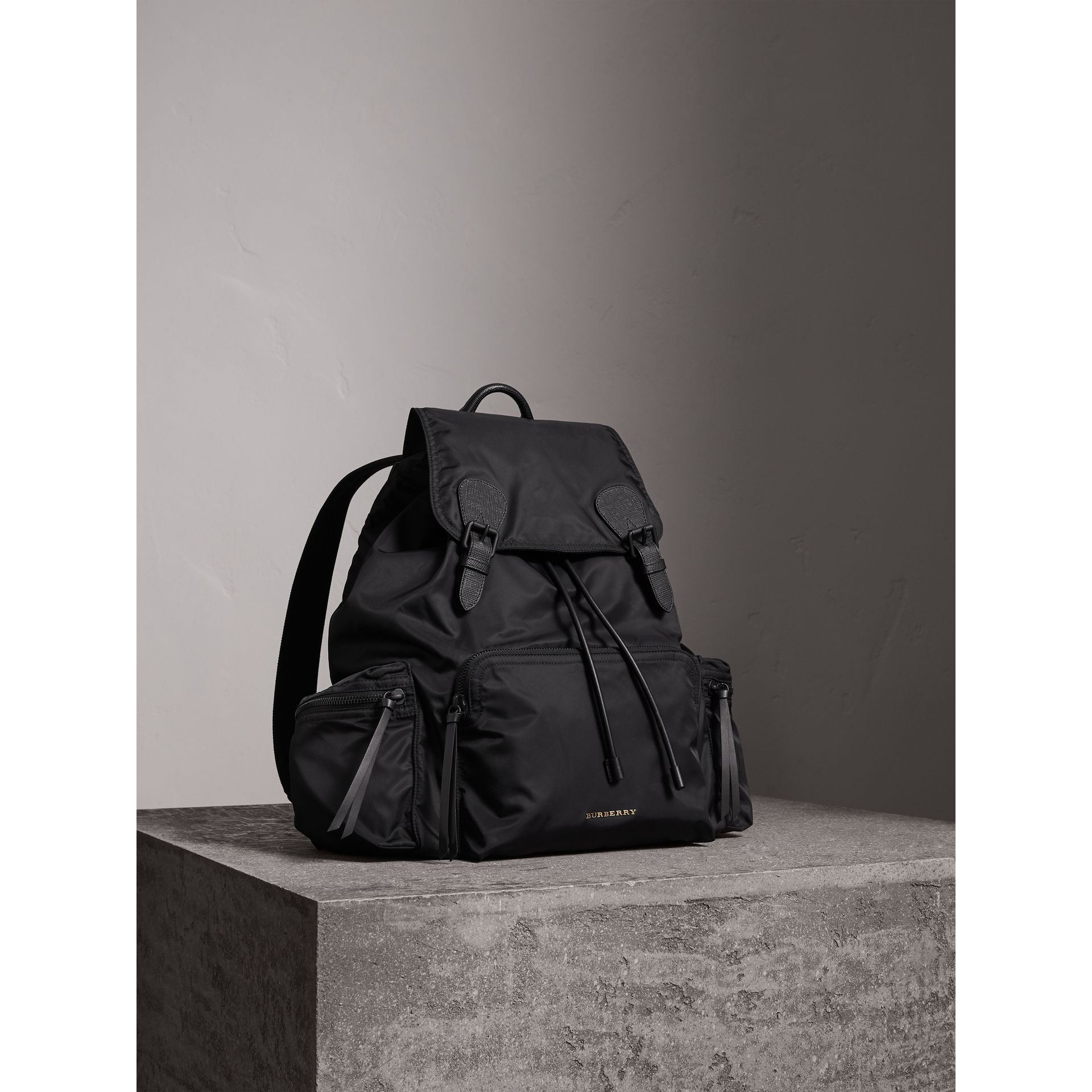 The Extra Large Rucksack in Technical Nylon and Leather in Black - Men | Burberry Canada - gallery image 8