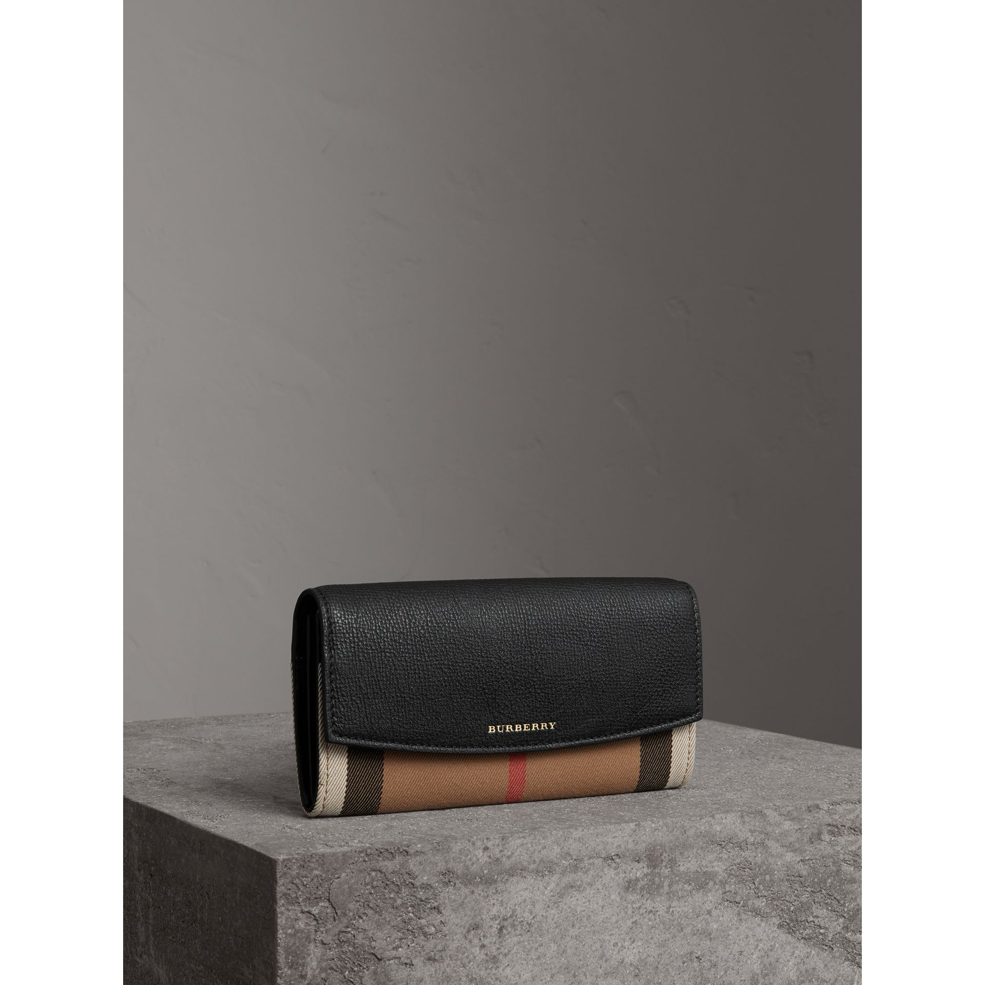 House Check And Leather Continental Wallet in Black - Women | Burberry - gallery image 0