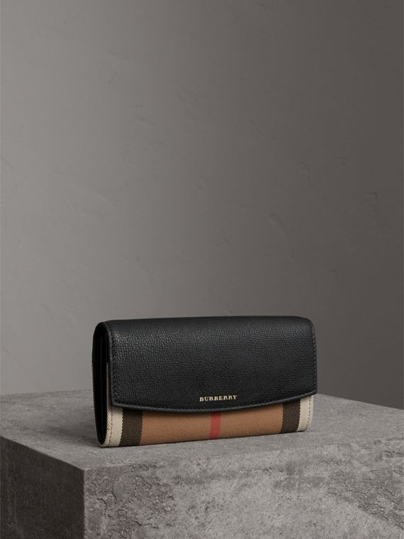 House Check And Leather Continental Wallet in Black