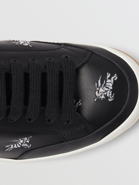 Equestrian Knight Embroidered Leather Sneakers in Black - Women | Burberry - cell image 1