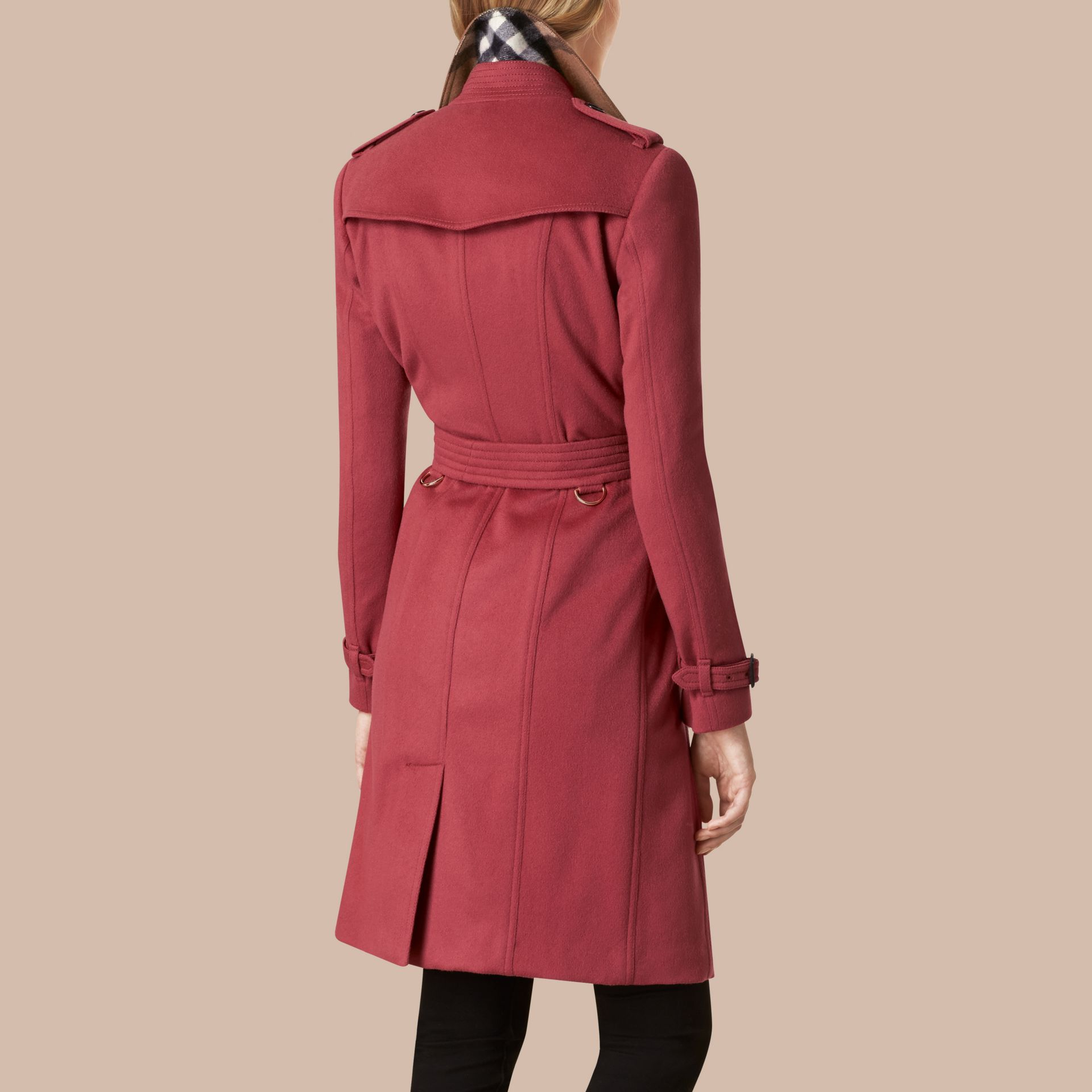 Dusty peony rose Sandringham Fit Cashmere Trench Coat Dusty Peony Rose - gallery image 3