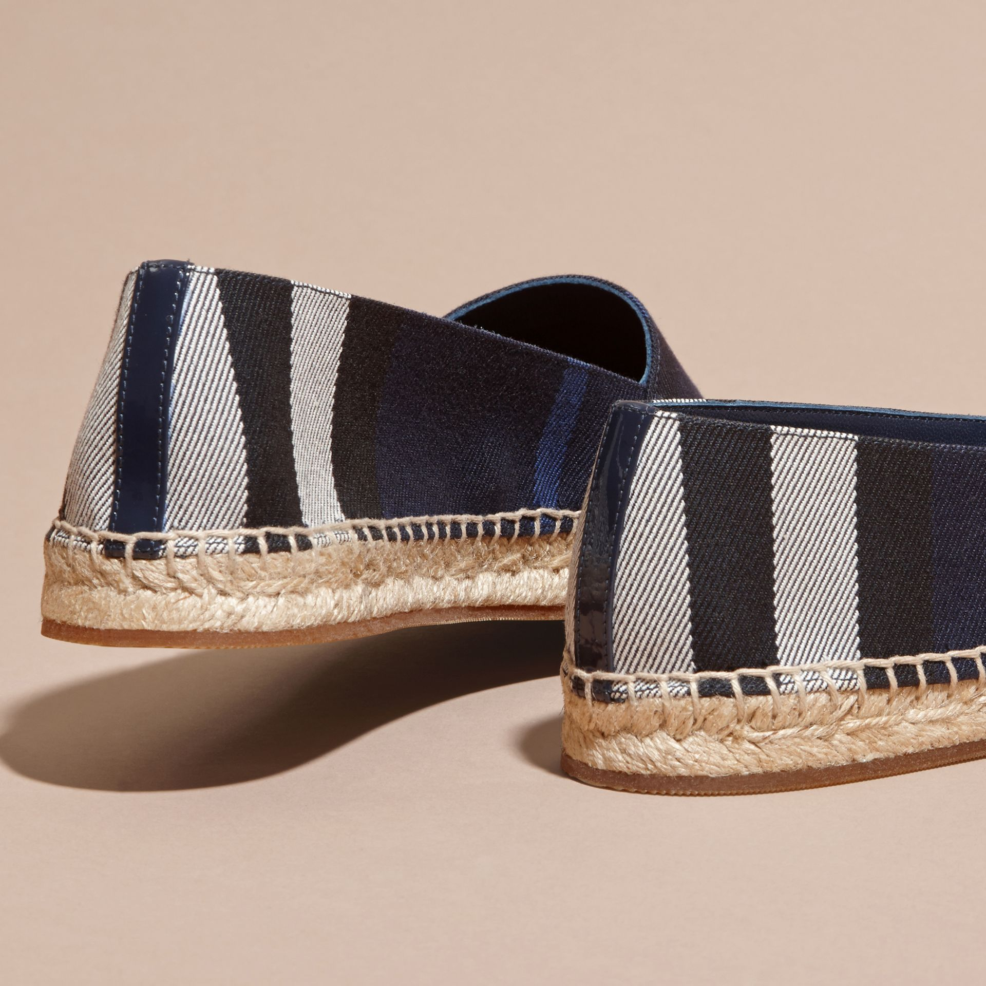 Leather Trim Canvas Check Espadrilles Indigo Blue - gallery image 4