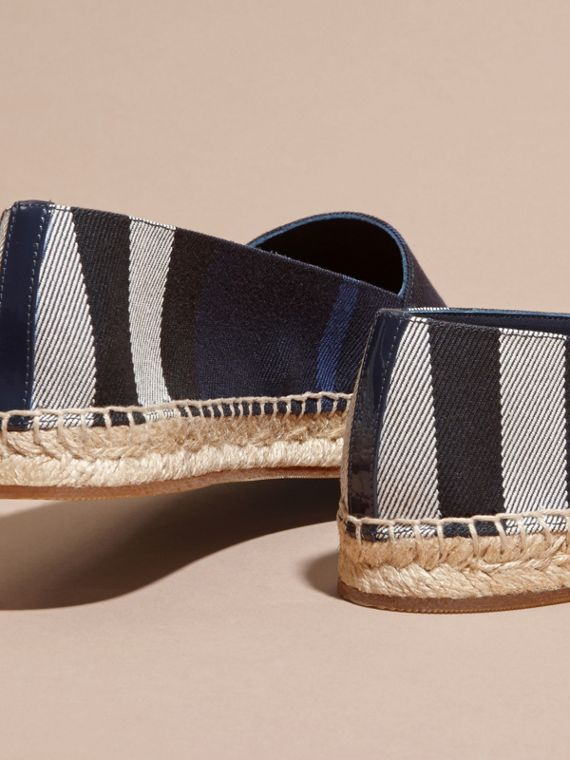 Leather Trim Canvas Check Espadrilles Indigo Blue - cell image 3