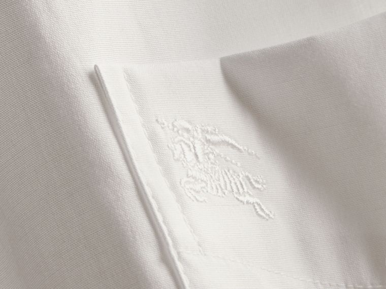 Short-sleeved Stretch Cotton Poplin Shirt in White - Men | Burberry - cell image 1