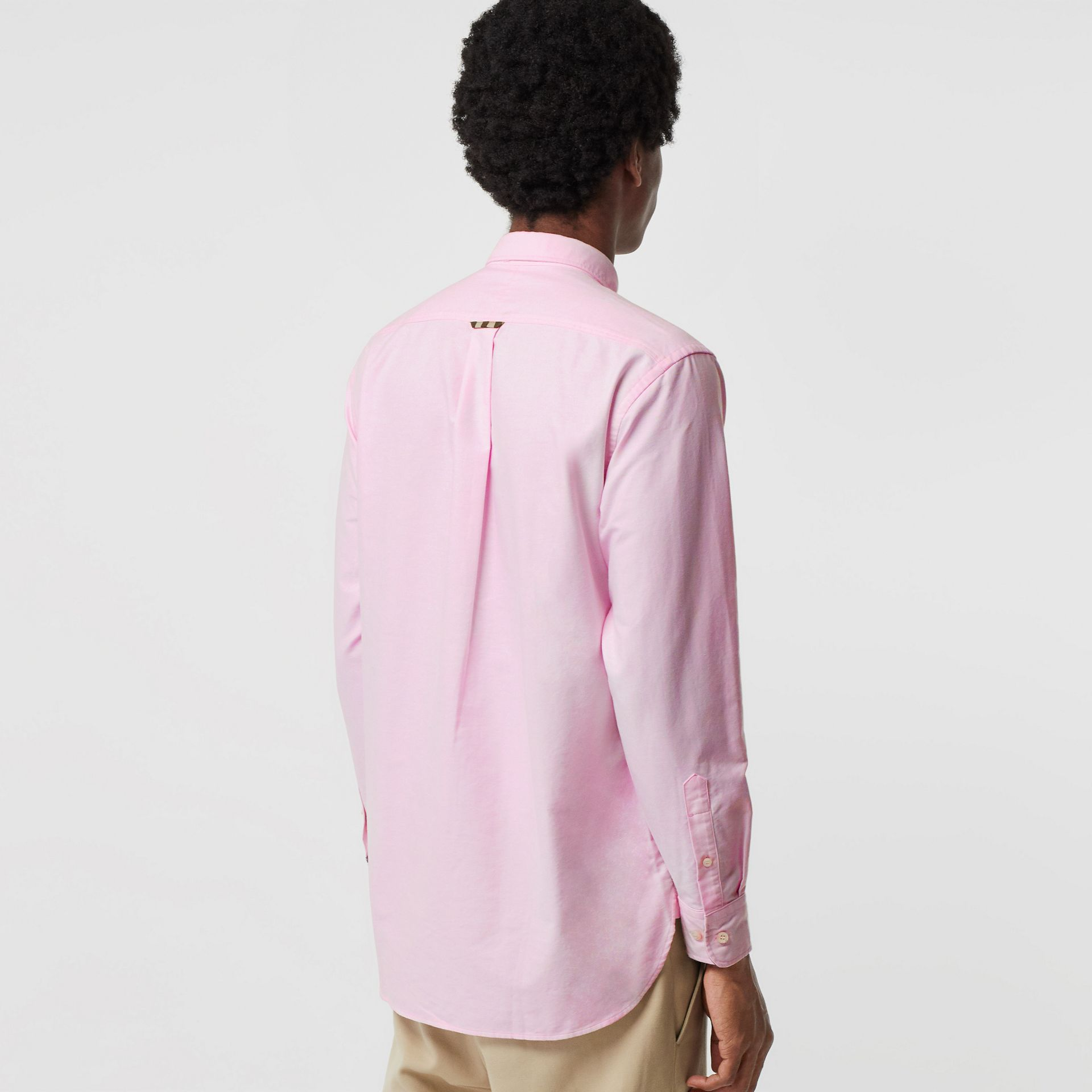 Check Detail Cotton Oxford Shirt in Pale Pink - Men | Burberry - gallery image 2