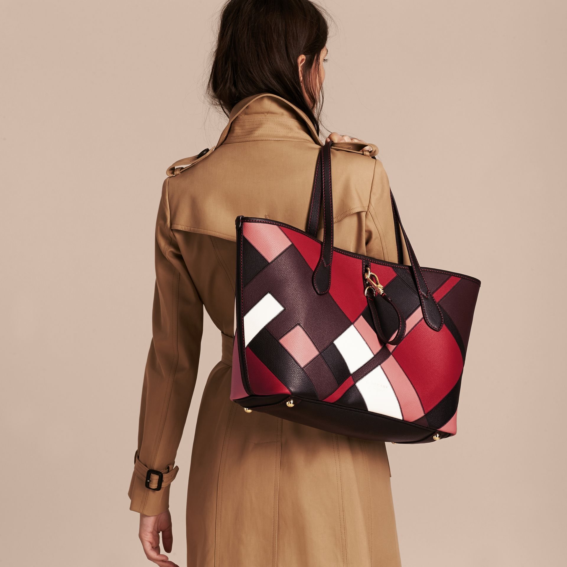 Medium Patchwork Grainy Leather Tote Bag in Pink - Women | Burberry - gallery image 3