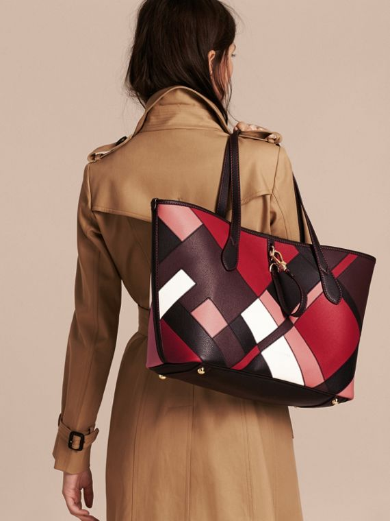 Medium Patchwork Grainy Leather Tote Bag in Pink - Women | Burberry - cell image 2