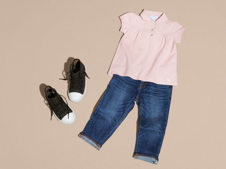 Chalk pink Ruched Detail Stretch Cotton Polo Shirt Chalk Pink - cell image 4