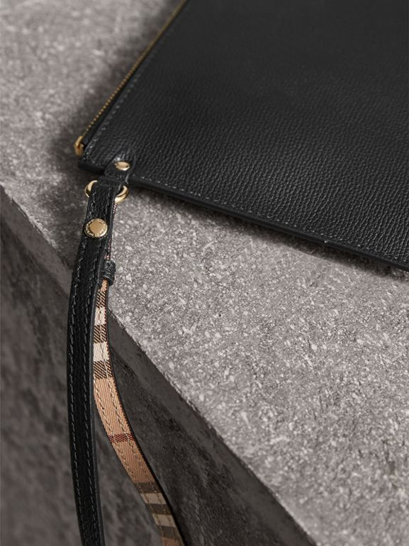 Haymarket Check and Leather Pouch in Black - Women | Burberry United Kingdom - cell image 1