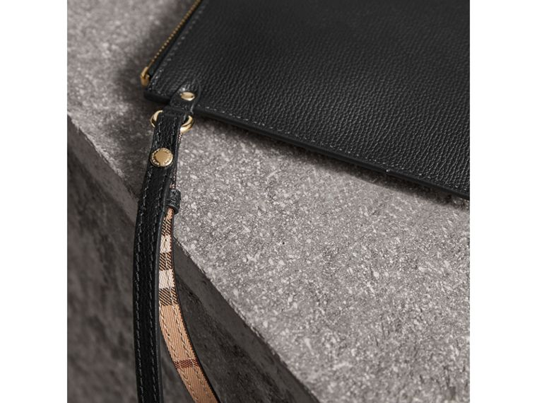 Haymarket Check and Leather Pouch in Black - Women | Burberry Canada - cell image 1