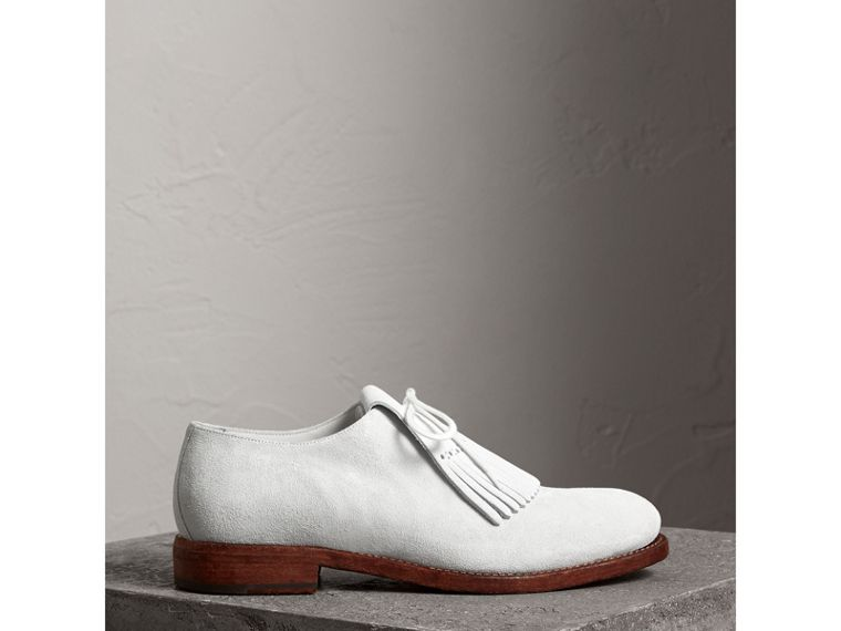 Lace-up Kiltie Fringe Suede Loafers in Off White - Men | Burberry - cell image 4