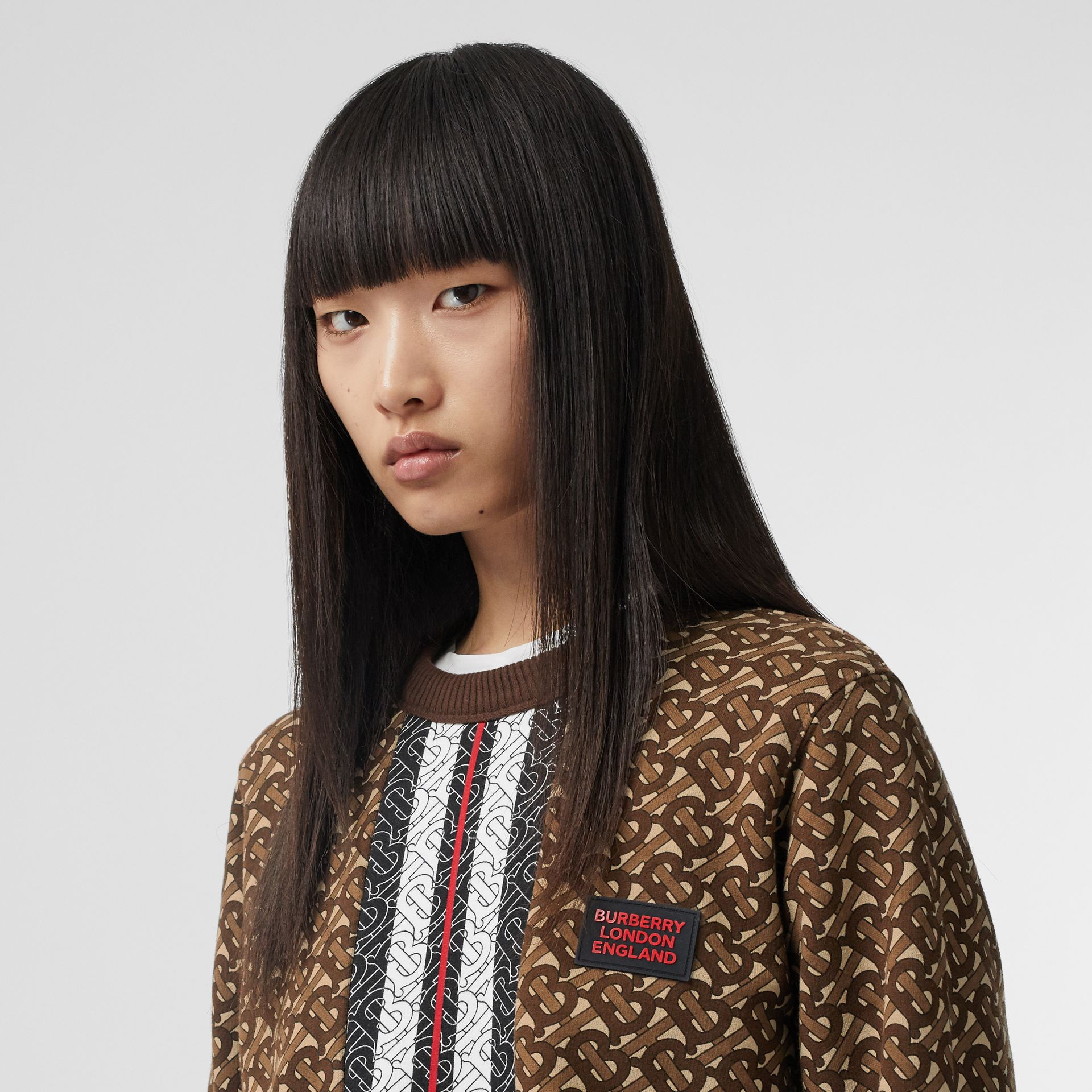 Monogram Stripe Print Cotton Oversized Sweatshirt in Bridle Brown - Women | Burberry - gallery image 1