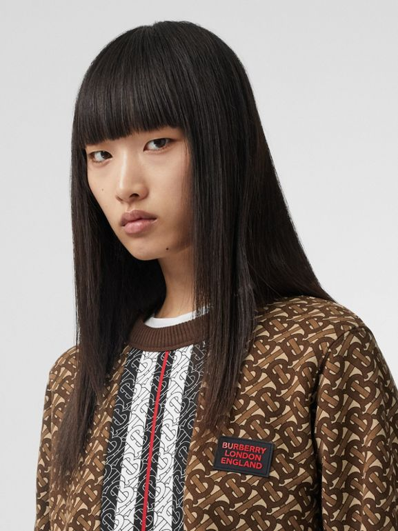 Monogram Stripe Print Cotton Oversized Sweatshirt in Bridle Brown - Women | Burberry - cell image 1