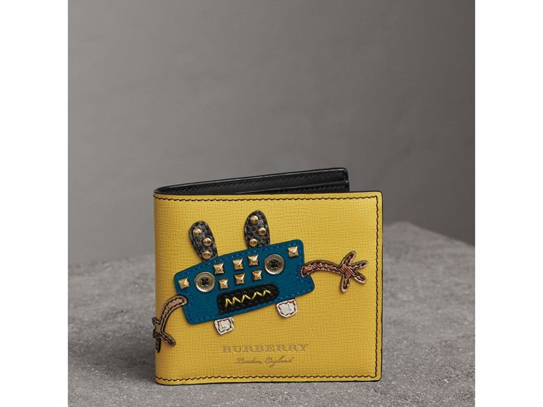 Creature Appliqué Leather International Bifold Wallet in Ochre Yellow - Men | Burberry - cell image 4