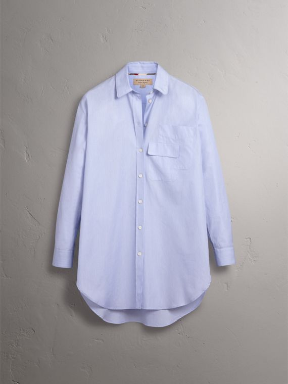 Double Pocket Cotton Oversize Shirt in Pale Blue - Women | Burberry - cell image 3