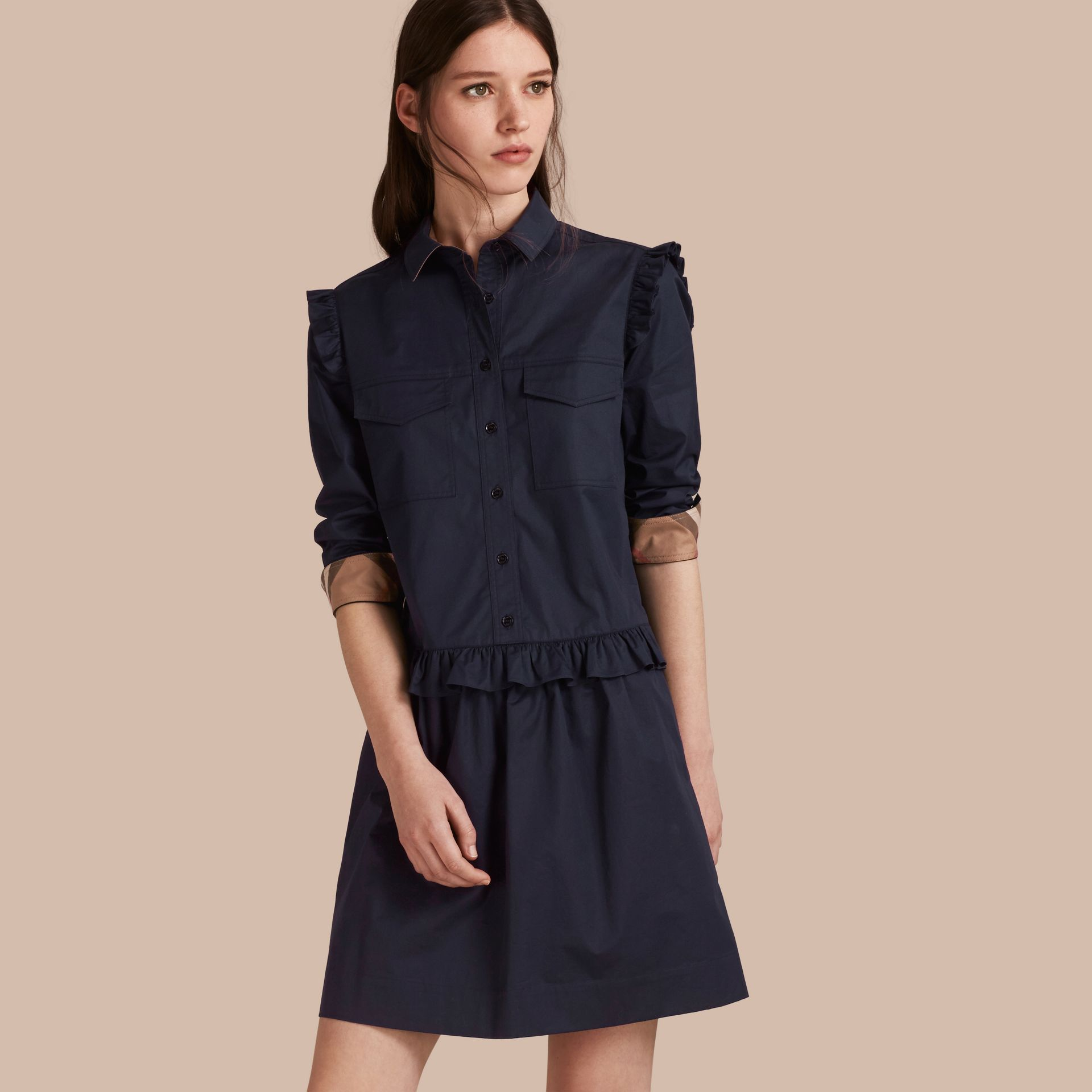 Ruffle and Check Detail Cotton Shirt Dress Navy - gallery image 1