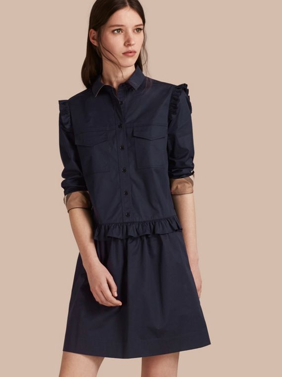 Ruffle and Check Detail Cotton Shirt Dress in Navy