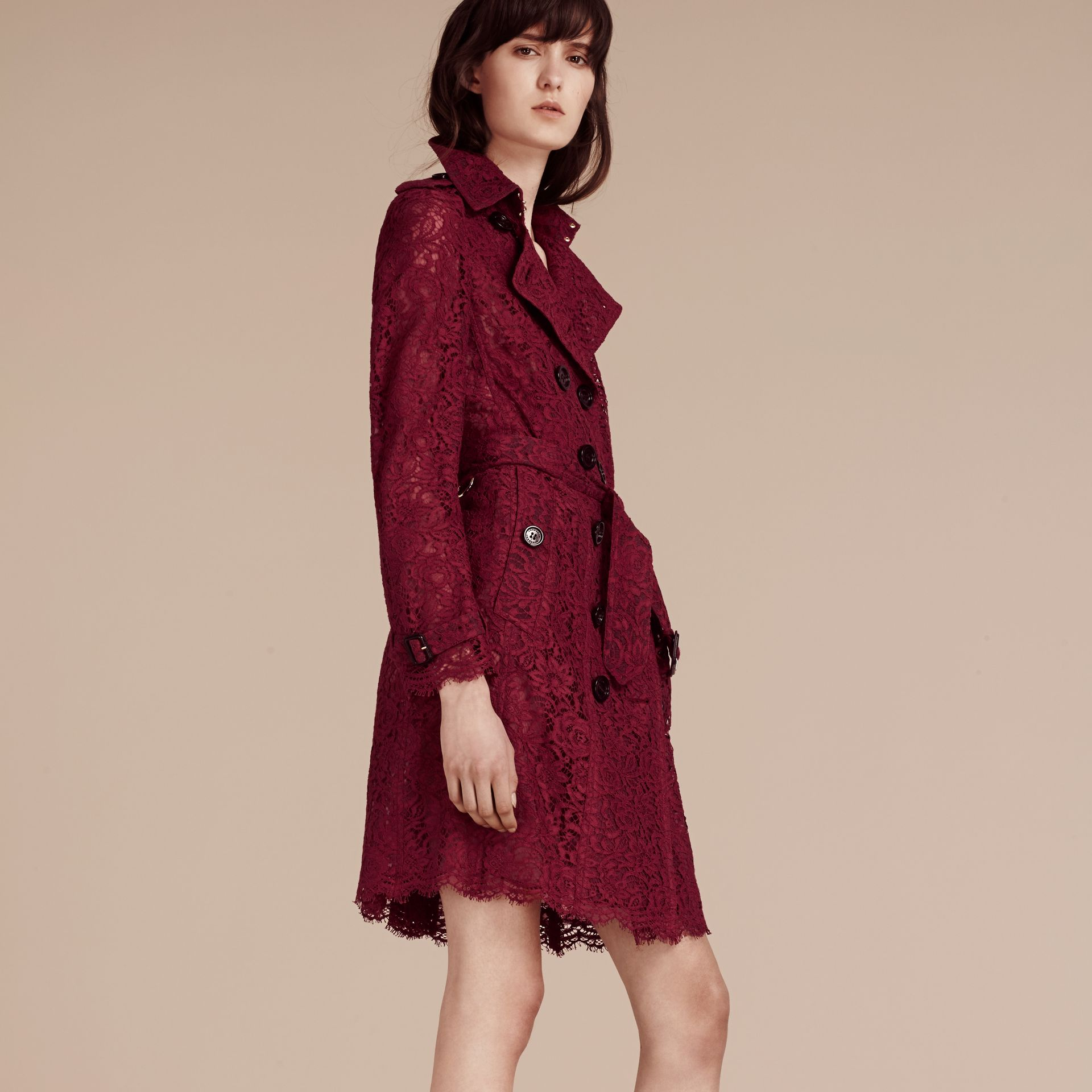Dark crimson Italian Lace Scallop-hem Trench Coat - gallery image 7