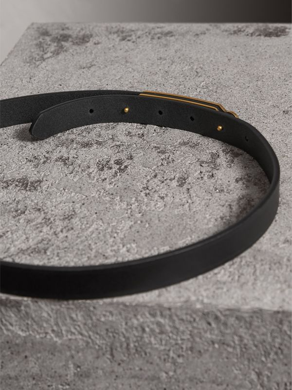 Brass Plaque Buckle Embossed Bridle Leather Belt in Black - Women | Burberry Singapore - cell image 3