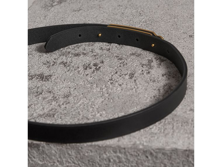 Brass Plaque Buckle Embossed Bridle Leather Belt in Black - Women | Burberry - cell image 2