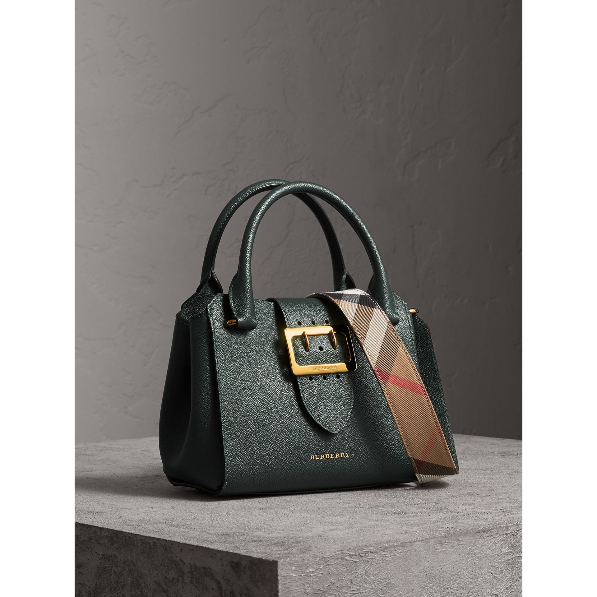The Small Buckle Tote in Grainy Leather in Sea Green - Women | Burberry United Kingdom - gallery image 7