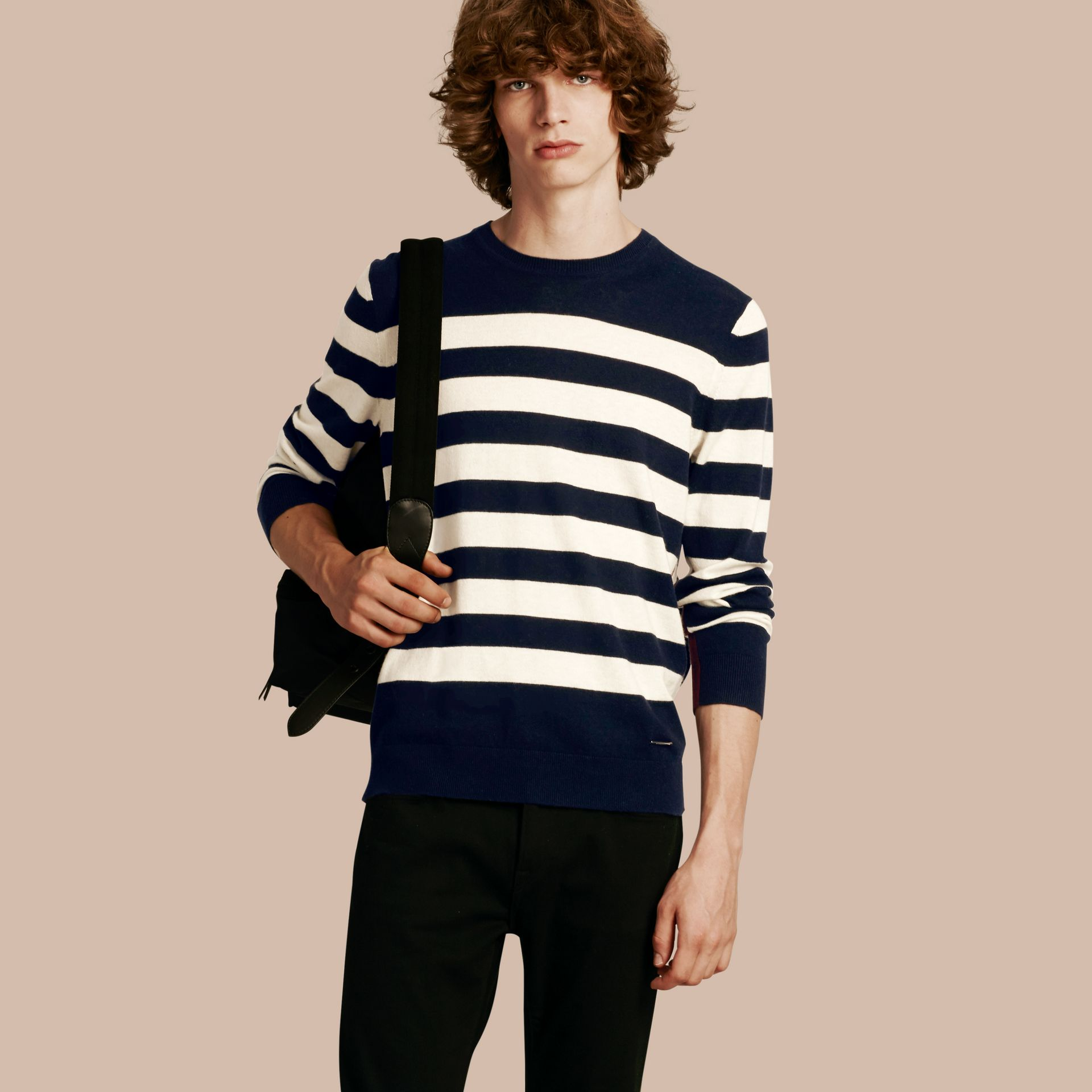 Striped Cashmere Cotton Sweater Navy - gallery image 1