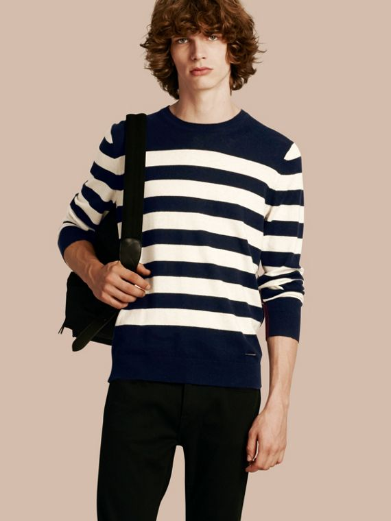 Striped Cashmere Cotton Sweater in Navy