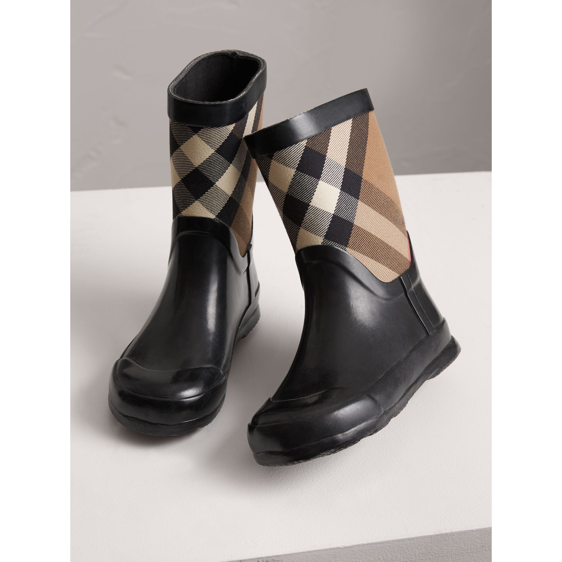 House Check Panel Rain Boots in Black | Burberry - gallery image 4