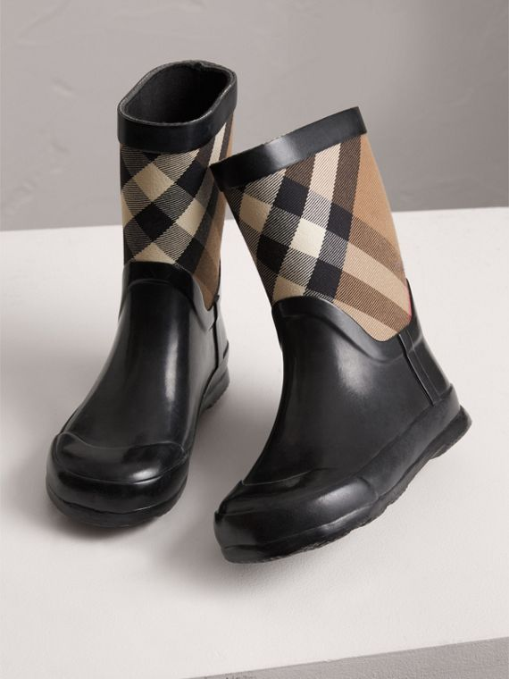 House Check Panel Rain Boots in Black | Burberry Canada - cell image 3