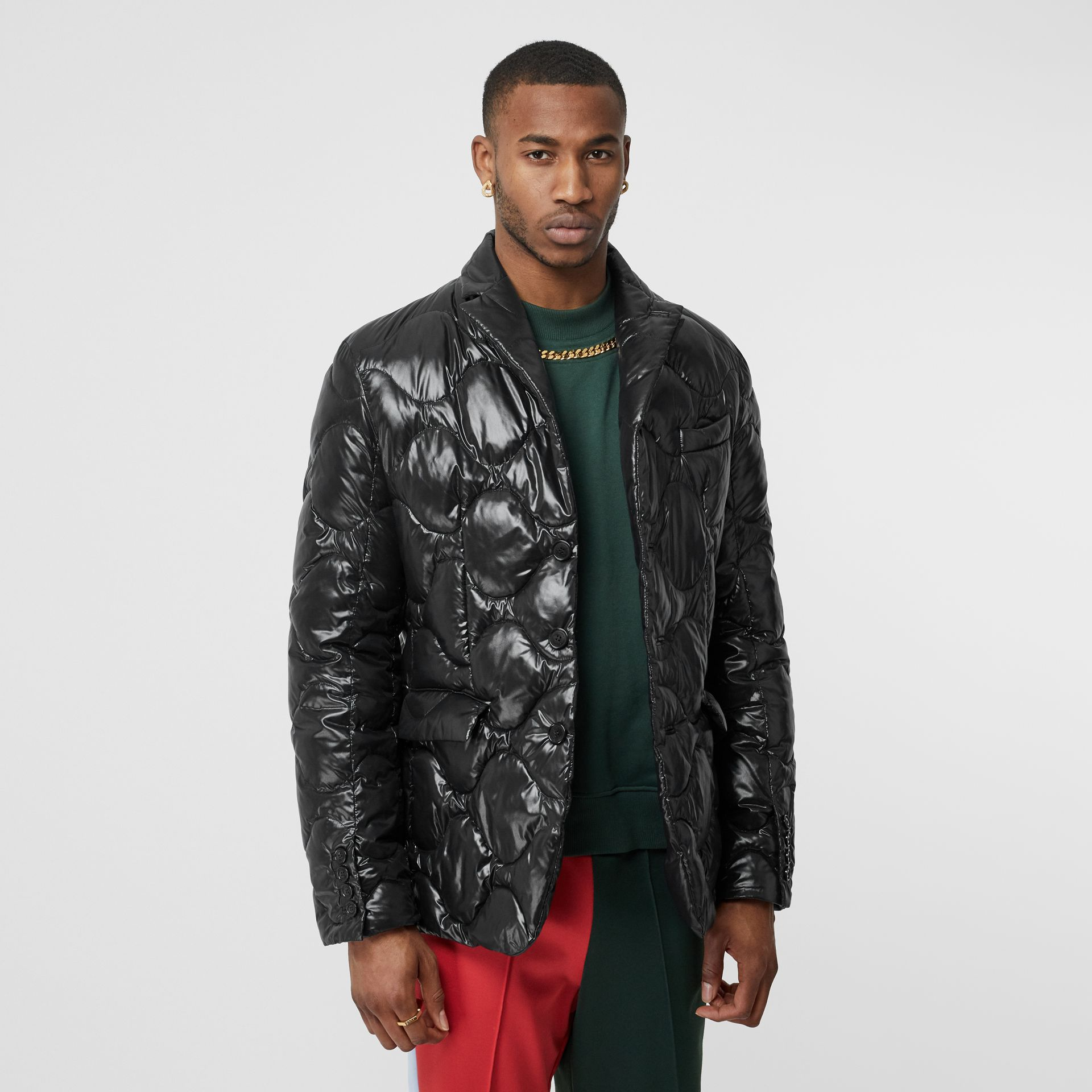 Nylon Puffer Blazer in Black - Men | Burberry - gallery image 4