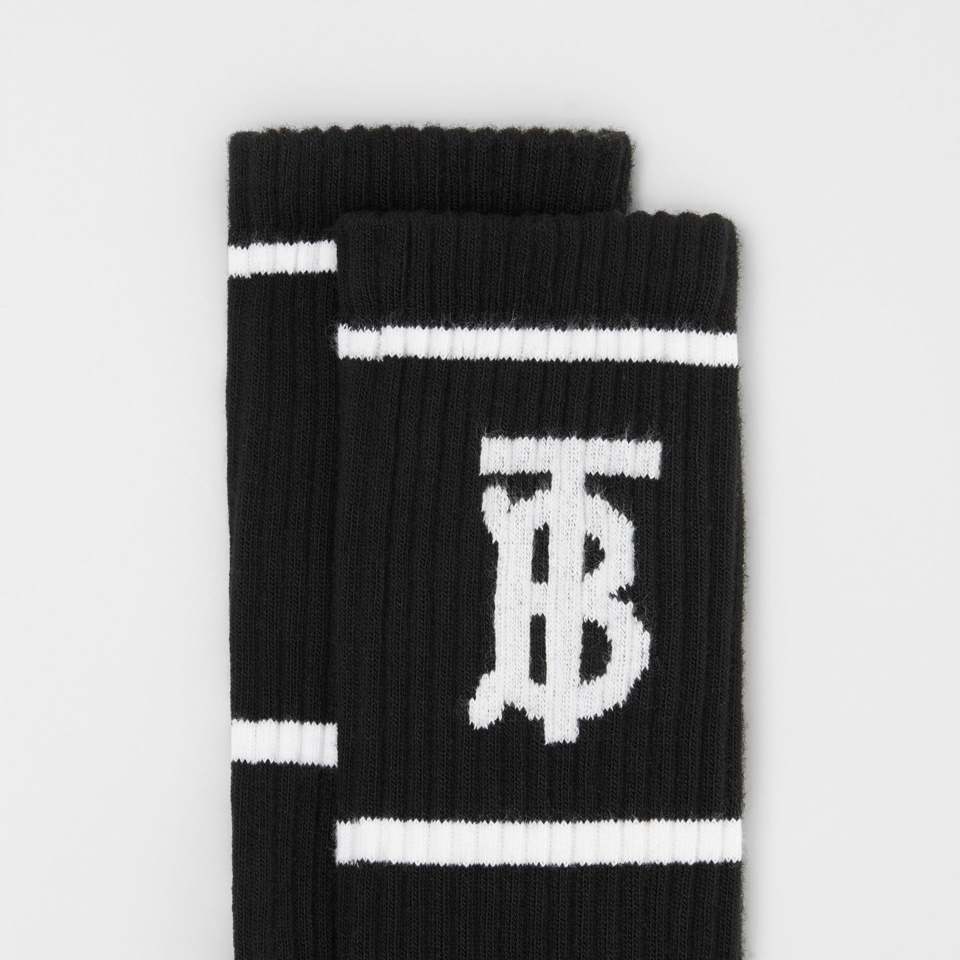 Monogram Motif Intarsia Socks in Black | Burberry - gallery image 1