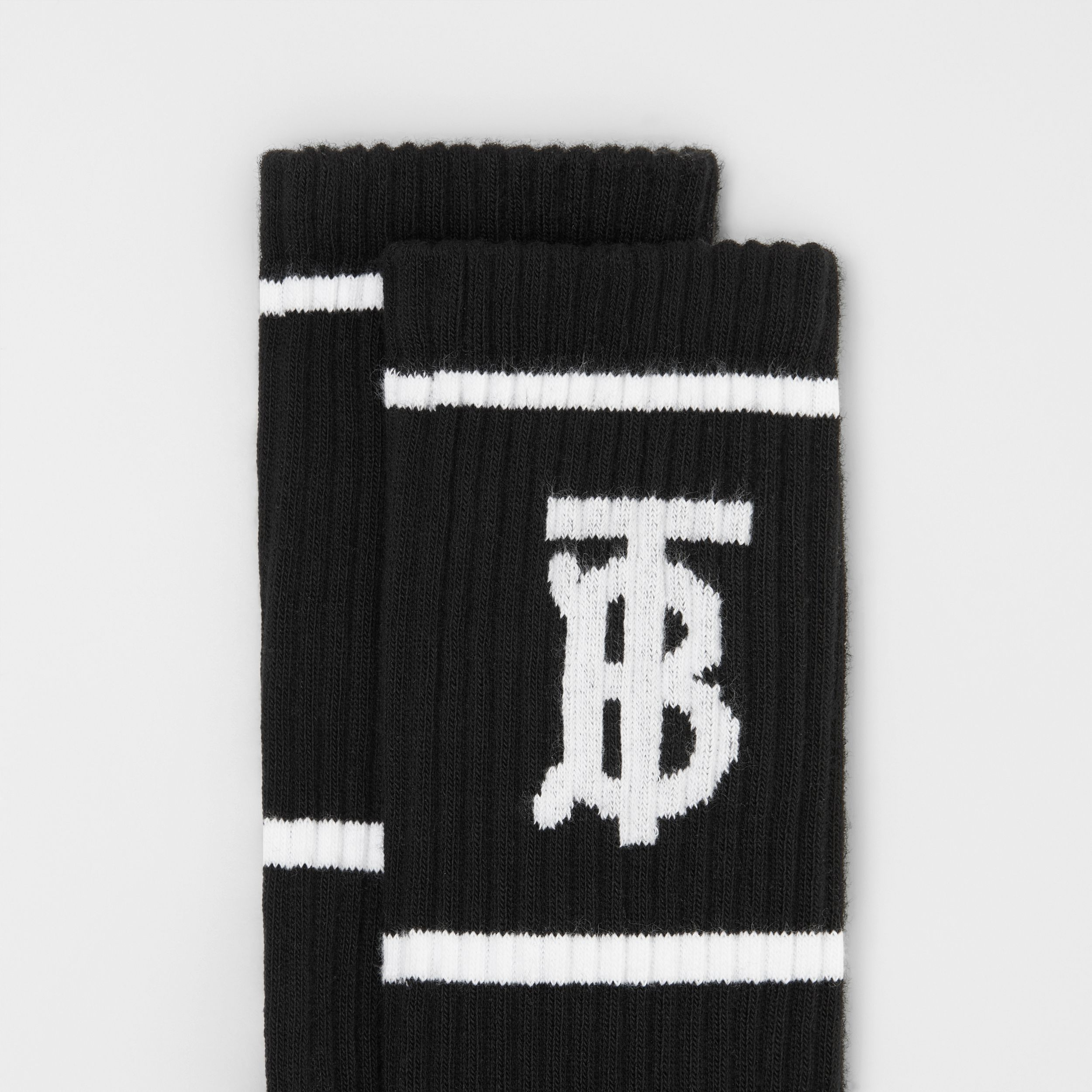 Monogram Motif Intarsia Socks in Black | Burberry United States - 2