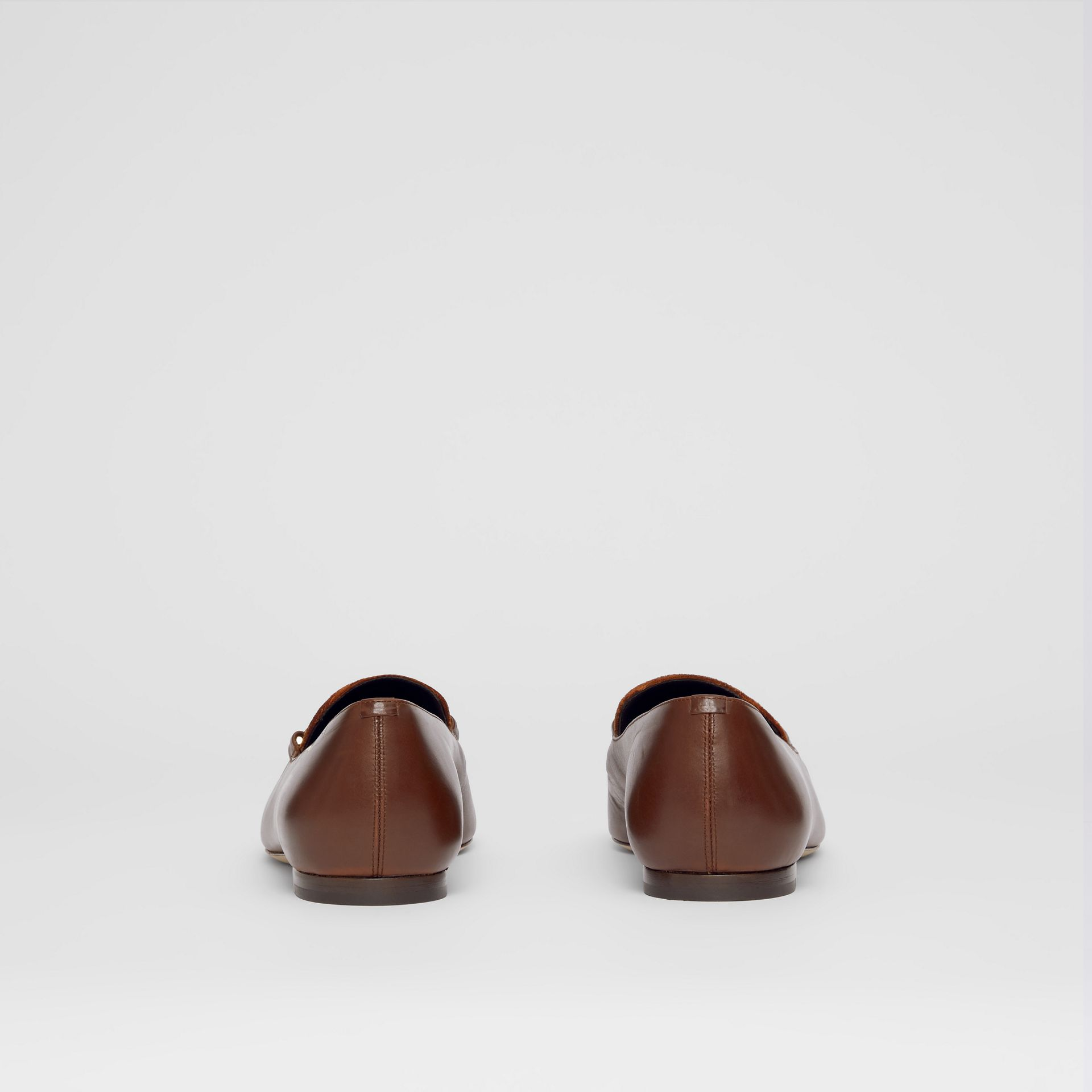 Monogram Motif Velvet and Leather Loafers in Dark Chocolate/tan - Women | Burberry - gallery image 4