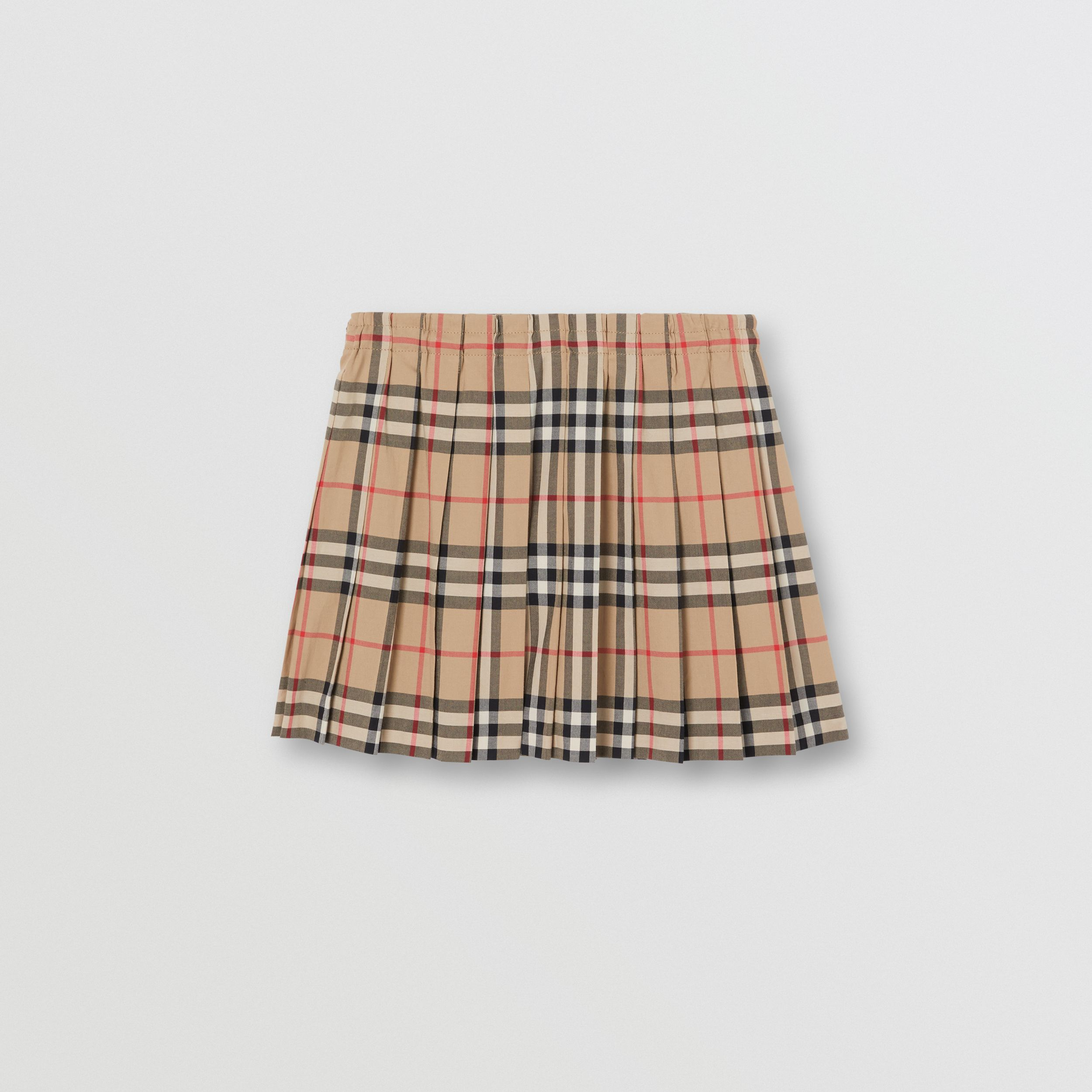 Vintage Check Cotton Pleated Skirt in Archive Beige | Burberry - 4