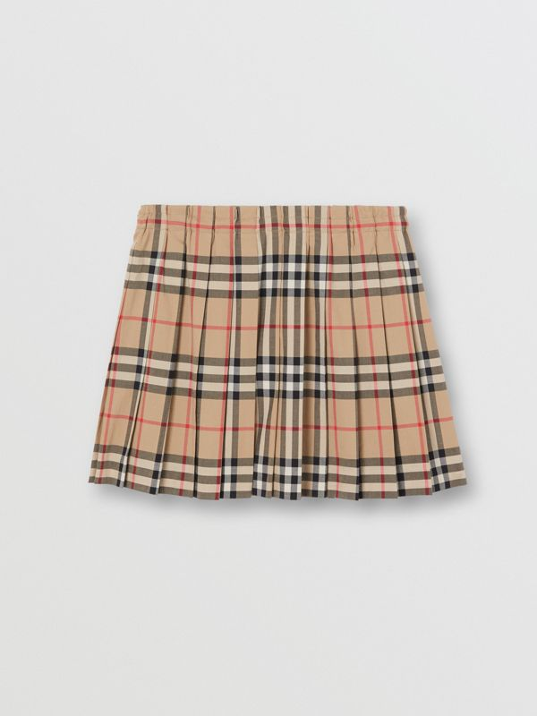 Vintage Check Pleated Skirt in Archive Beige | Burberry - cell image 3