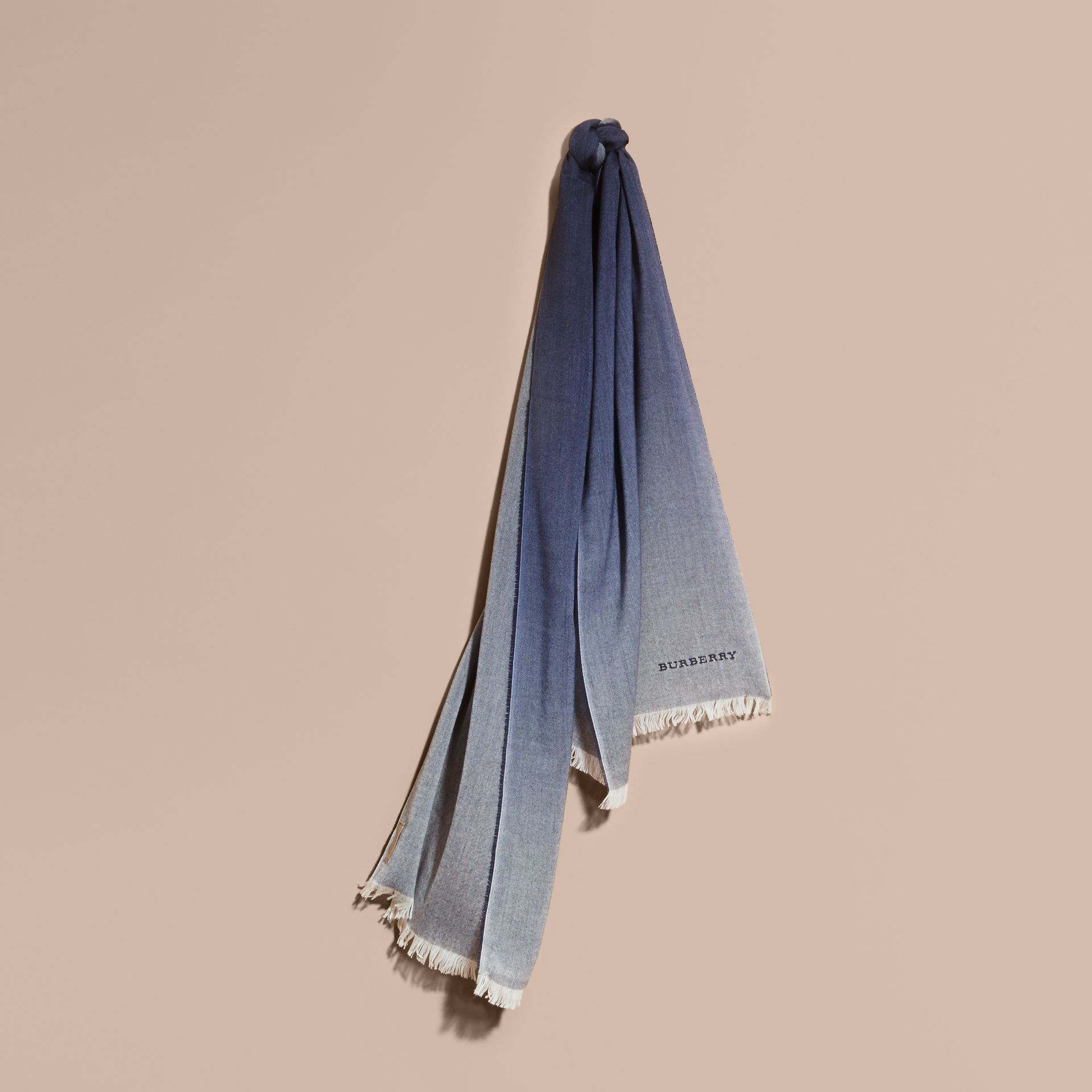Indigo blue Lightweight Ombré Wool Cashmere Scarf - gallery image 1