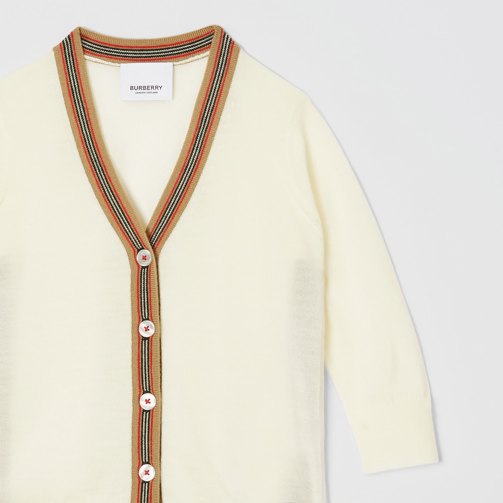 Icon Stripe Detail Merino Wool Cardigan in Ivory - Children | Burberry Canada - gallery image 5
