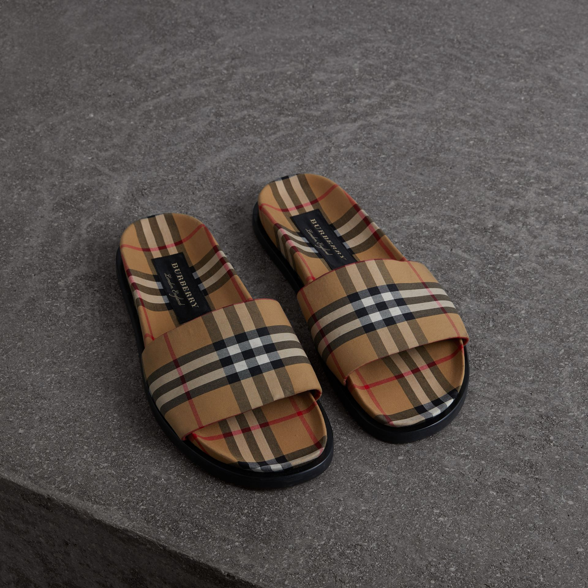Vintage Check Slides in Antique Yellow - Men | Burberry United States - gallery image 0