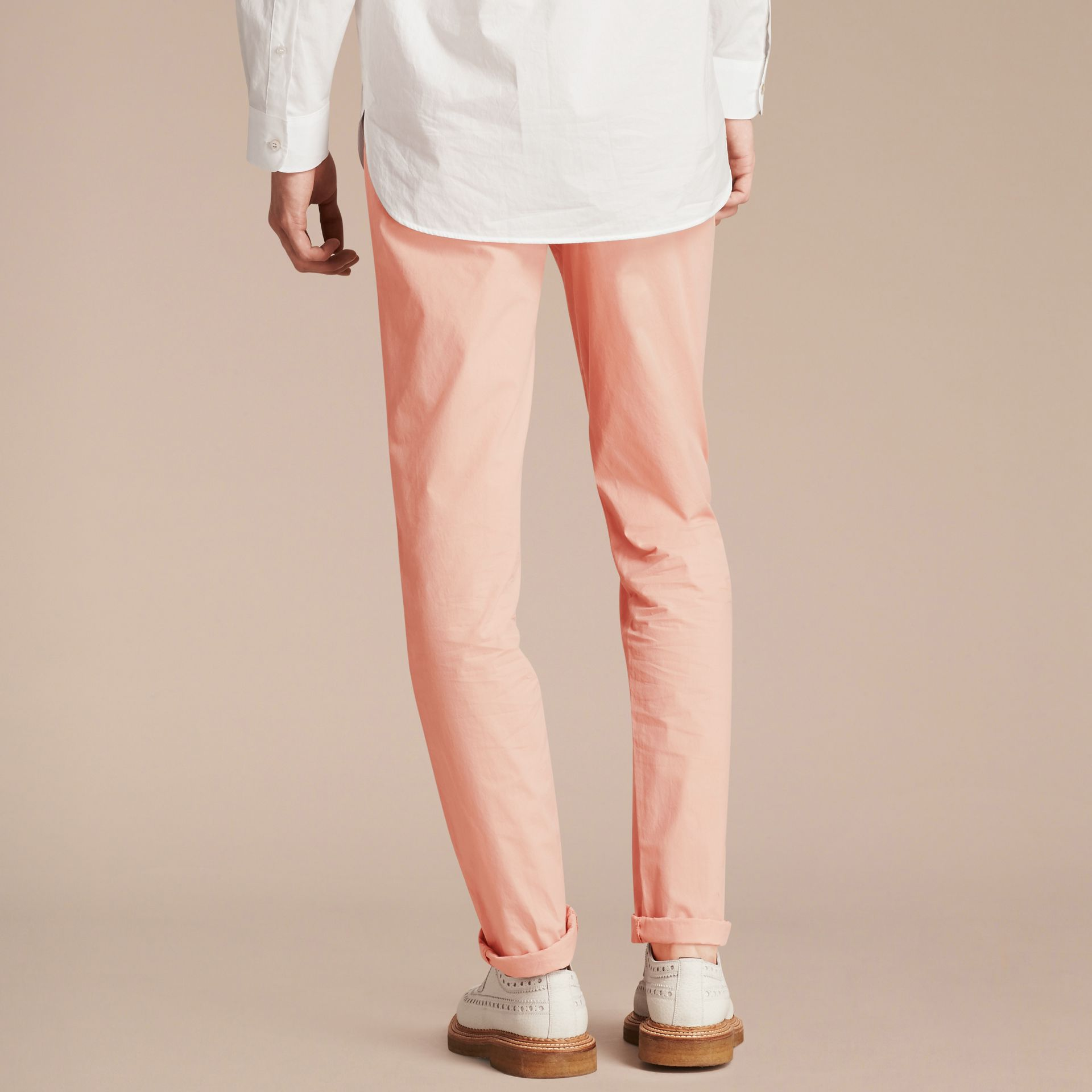 Slim Fit Cotton Poplin Chinos Apricot Pink - gallery image 3
