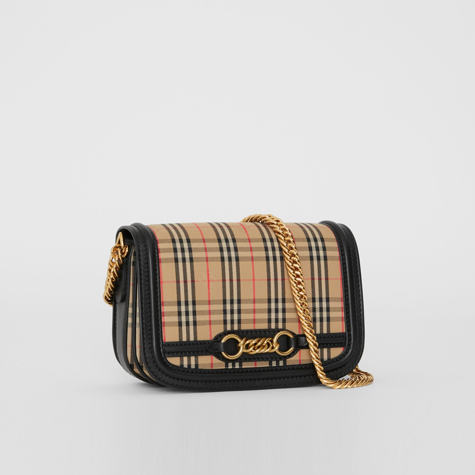 The 1983 Check Link Bag with Leather Trim in Black - Women | Burberry United Kingdom - gallery image 7