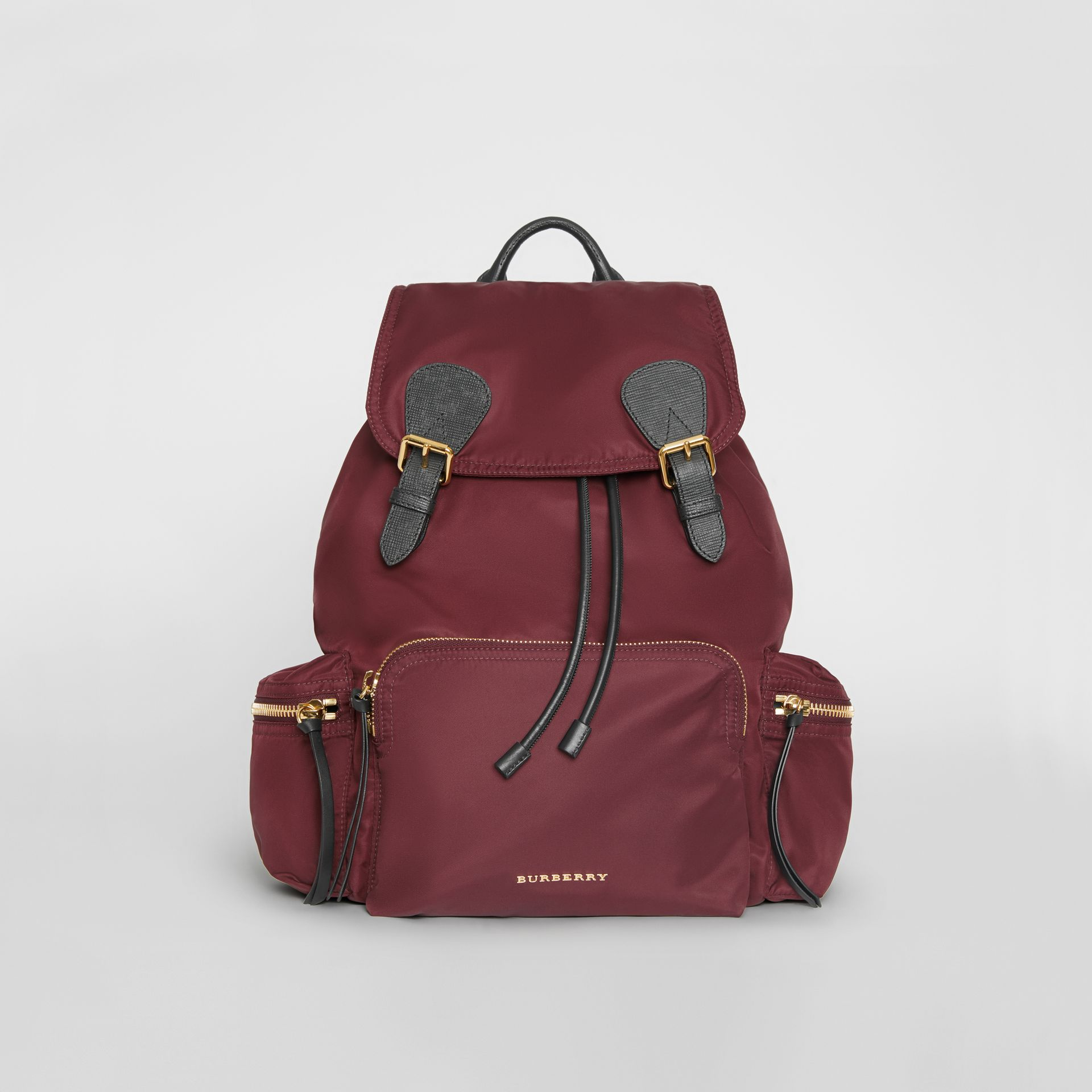 6f448a157ccd The Large Rucksack in Technical Nylon and Leather in Burgundy Red - Women